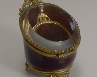 Antique, Vintage, French, Glass, Gilt, Dore, Pocket, Watch, Box, Holder, Stand, Palais, Royale, Victorian