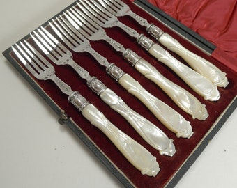 Antique English Sterling Silver & Mother of Pearl Cake or Desert Forks - 1862