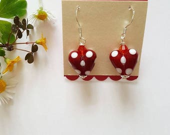 Spotty Heart Earrings - Silver Earrings - Gifts for Her - Lampwork Glass - Spotty Beads - Earrings - Swarovski Crystals - Polka Dot Hearts