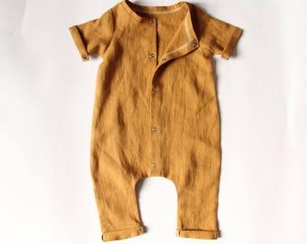 Handmade mustard linen romper. Unisex romper. Rolled hem romper. Summer romper. Boys romper. Toddler romper. Baby boy romper. Girls romper.