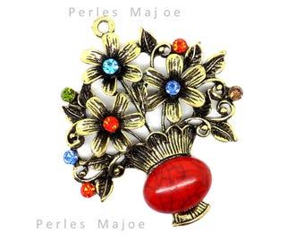 Vintage pendant with Rhinestones ref 001 flower pot