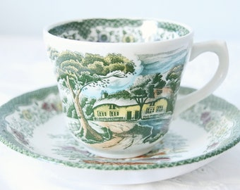 Set of Two Royal Tudor Cups and Saucers, 'Country Cottage', England