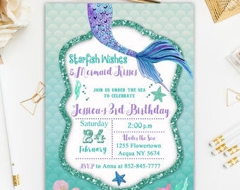 Mermaid Birthday Invitation, Under the Sea Invitation, Princess Birthday Invitation, Starfish Wishes and Mermaid Kisses Invitation Printable