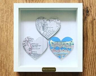 Framed Personalised Triple Heart Map
