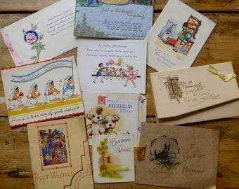 Collection of 10 USED Birthday Cards C.1930-40s