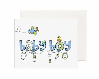 "Baby Shower/ Congrats ""Baby Boy"" Greeting Card"