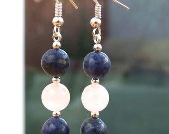 Lapis Lazuli and White Jade Bead earrings