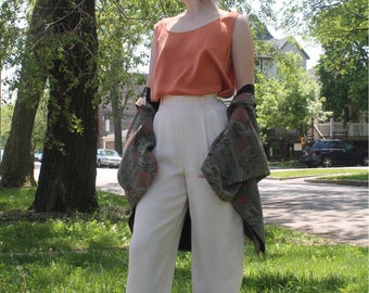 High Waisted Cream Trousers 100% Silk Wide Legged Size 4 High Rise Pants