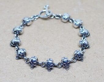 """7.5"""" 3D Skull Bracelet, Day of death Bracelet, 925 sterling silver Bracelet, Halloween Jewelry, Biker Bracelet"""