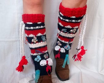OOAK Striped LEG WARMERS / Women Accessories Hand Knit Winter Elegant Boot Legwarmers Warm Crochet Romantic Feminine Pompoms Handmade Gift