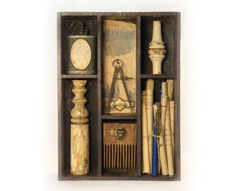 Carl Sandburg Found Object Assemblage — Poetry Assemblage with Maps
