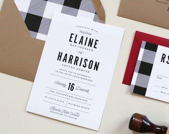 Gingham Wedding Invitation | Buffalo Check Invitation, Modern Wedding Invite, Rustic Wedding Invite, Plaid Wedding Invite, Winter Wedding