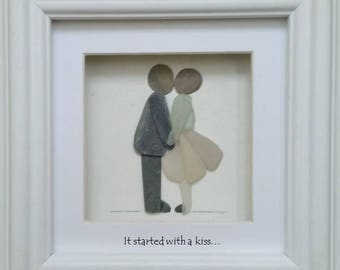 Valentine Gift, Pebble Art Couple with Dog, It Started with a Kiss, Cornish Pebble Art
