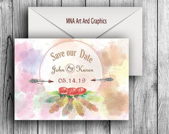 Boho watercolor SAVE THE DATE Template - Bohemian watercolor feather and roses themed Save the Date - Printable