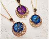 Zodiac Constellation Chain Gold colors (pre-order)-UV resin charm Bezel stars Moon