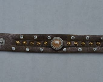 Brown Pearl Leather Bracelet