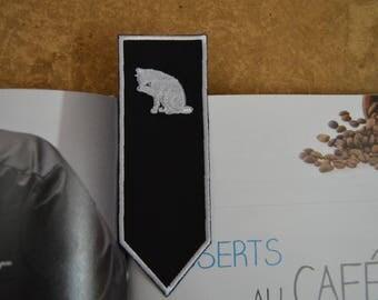 white cat bookmark