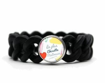 centerpiece black silicone bracelet