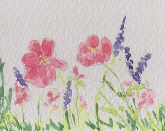 Flowers ORIGINAL Miniature Watercolour ACEO Wild Flowers, Watercolor, Floral, For him,For her,Home Decor Wall Art Gift Idea, Free shipping