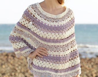 Crochet poncho in merino wool,  hand made product made to order
