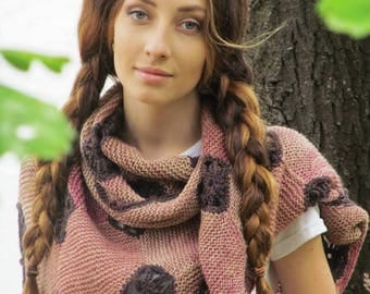 """Hand knit shawl - boho knitted wrap - warm wool shawl - pink shawl -  knitted shawl - boho gypsy shawl - knit kerchief """"Country life"""""""