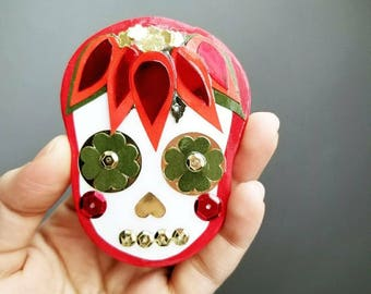 Large Day of the Dead Poinsettia Magnet