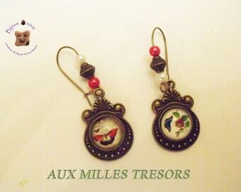 Bronze butterflies and flowers earrings