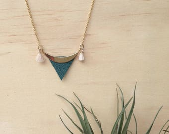 Green leather triangle necklace