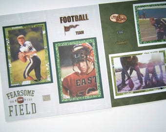 Football Scrapbook Pages - Premade Football Layouts - 12 by 12 Premade Football Pages - Football Scrapbook Layouts - Sports Pages, Football