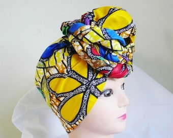 Yellow Floral Multi Ankara Head wrap, DIY head tie, Stylish African head scarf, Fabric hair accessory – Made to Order