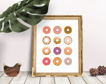 Donut Poster | Donut Print, Donut Watercolor, Food Art, Kitchen Art, Kitchen Decor, Immediate Download, Printable Poster, Digital Print