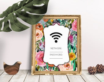 WIFI Password Printable | Wifi Password Sign, Internet Sign, Wifi Password Sign, Internet password, Guest Room Sign, Guest Wifi, Wifi Poster