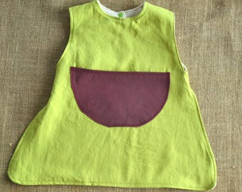 Green hemp and organic cotton bib organic Med