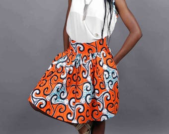 beautiful African print fabric top and MIDI skirt set