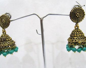 Beautiful Jhumka Jhumki Jewelry , Fashion Designer Golden Oxidized Earrings , Ethnic Long Drop Chandelier , Festival Jewelry India Hoops.