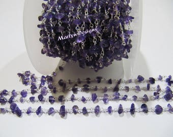 1 FOOT- Natural Genuine Amethyst Uncut Beaded Chain , African Amethyst Nugget Chip Beads Rosary Chain , Wire Wrapped Gemstone Beaded Chain.