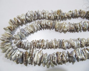 Natural Genuine Pearl Fancy Shape Beads ,  Nugget Slices Grey Pearl Beads , Size 10 to 16mm Approximately, Chips Beads, Strand 8 Inches Long