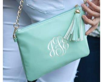 Mongram Purse, bridesmaid Gift, Tassle Purse, mint purse, Monogram gifts, Monogram Crossbody, Teen gift, monogram present, gift for mom