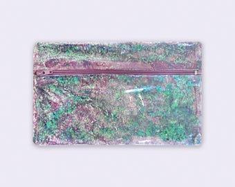 Glitter Zipper Bag for Women, Makeup Bag Glitter Zipper Pouch, Mermaid Glitter Bag, Clear Makeup Pouch, Clear Vinyl Bag, Purple Confetti Bag