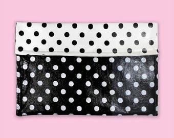 Polka Dot Clutch, Hand Painted Bag, Cute Purse for Women, Painted Handbag, Clutch Hand Painted, Girly Purse, Black and White Purse, Dot Bag