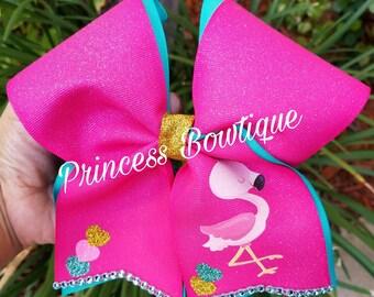 Flamingo bows, flamingo cheer bow, flamingos, bows, cheer bows, flamingo bow