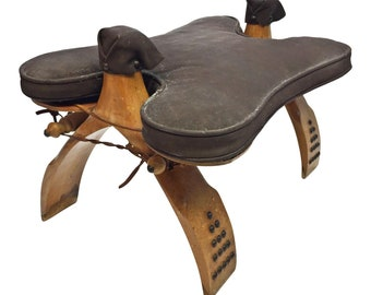 Vintage CAMEL STOOL mid century egyptian wood wooden saddle ottoman foot seat ornate kitsch handmade middle eastern brown 60s leather brass