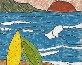 Surfing at Sunset Hand Painted Kiln Fired Decorative Ceramic Wall Art Tile 6 x 6
