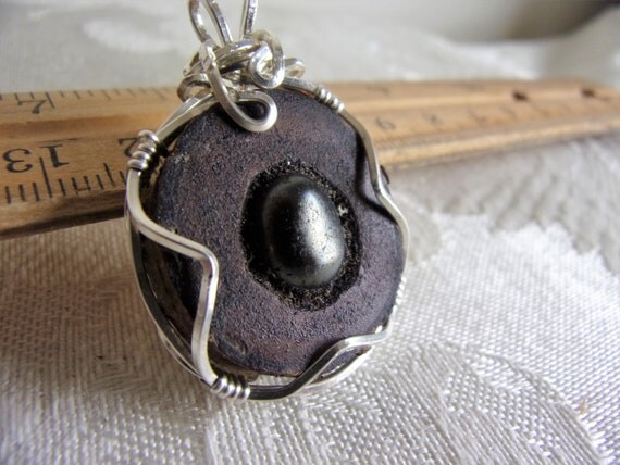 Tumbled Hematite in Oak and Sterling Silver