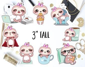 Kawaii Sloth Die Cut Planner Stickers / Kawaii Sloth Decals / Laptop Stickers / Kawaii Sloth Planner Stickers / Kawaii Sloth Stickers