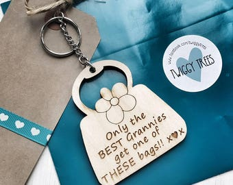 Wooden Handbag Only best Granny Grannies get one of these Handbags,my best friend my world xx   Engraved Keyring Gift