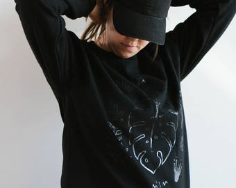 Black Unisex Crewneck, Botanical Sweatshirt