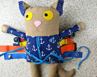 Funny Cat With Clasps For a Child  2 years old and over  - Toy With Buckles for todller - Cat stuffed animal - cat doll