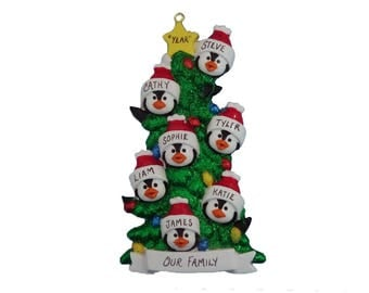 7 Penguin Family Personalized Ornament - Family Ornament for Seven - Family Christmas Ornament