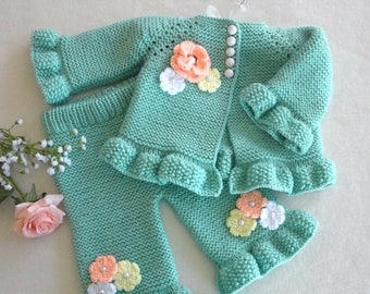 Baby Girl Cardigan Knitted Baby Jacket Knitted Baby Pants Crochet Baby Outfit Baby Girl Sweater Baby Girl Pants Baby Girl Clothes Baby Gift